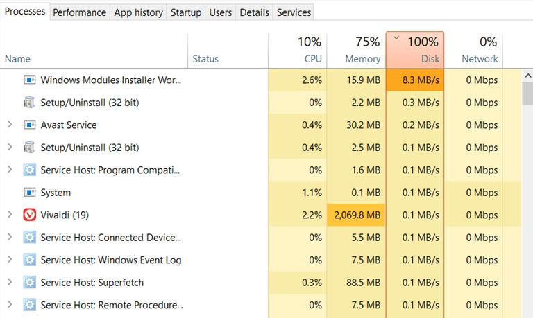 Windows 10 - Χρήση σκληρού δίσκου στο 100%